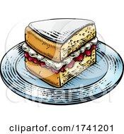 Cake Sponge Slice Jam Cream Woodcut Drawing
