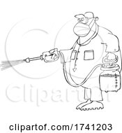 Cartoon Guy Spraying Chemicals And Wearing A Mask
