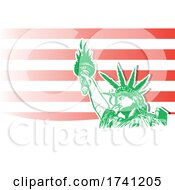 Statue Of Liberty With Marijuana Or Hemp Leaves Over Stripes