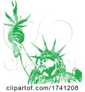 Statue Of Liberty With Hemp Leaf With Joint Illustration Vector