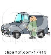 Male Caucasian Mechanic In Green Coveralls Holding Tools And Repairing A Blue Work Truck