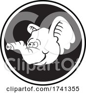 04/11/2021 - Baby Elephant Mascot Head Over A Circle In Black And White