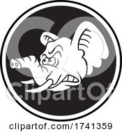 04/11/2021 - Tough Elephant Mascot Head Over A Circle In Black And White