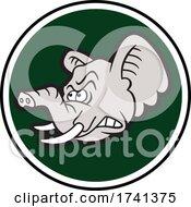 04/11/2021 - Tough Elephant Mascot Head Over A Green Circle