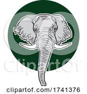 04/11/2021 - Elephant Mascot Head Over A Green Circle