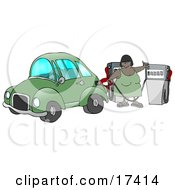 African American Woman Inserting A Gasoline Pump Into Her Vehicle To Fill It At A Gas Station Up Before Commuting To Work Clipart Illustration