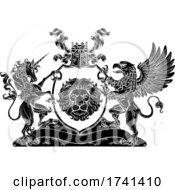 Poster, Art Print Of Coat Of Arms Crest Griffin Unicorn Lion Shield