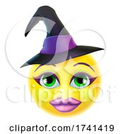 Poster, Art Print Of Witch Emoticon Cartoon Halloween Face