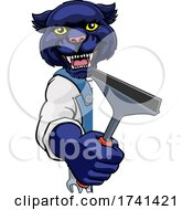 Panther Car Or Window Cleaner Holding Squeegee