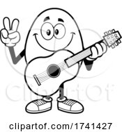 Black And White Easter Egg Character Gesturing Peace And Holding A Guitar