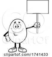 Black And White Easter Egg Character Holding A Sign