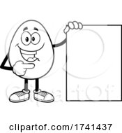 Black And White Egg Character With A Sign
