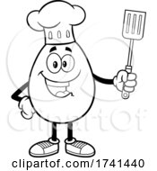 Black And White Egg Chef Character Holding A Spatula