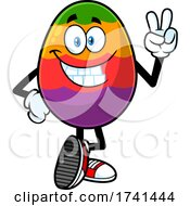 Easter Egg Character Gesturing Peace