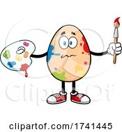 Egg Character In Messy Paint Splatters