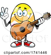 Easter Egg Character Gesturing Peace And Holding A Guitar