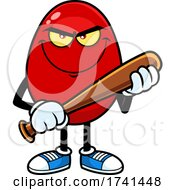 Mean Egg Character With A Baseball Bat