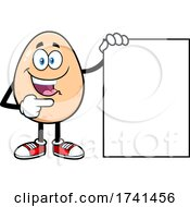 Egg Character With A Sign