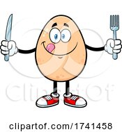 Egg Character with Cutlery by Hit Toon #COLLC1741458-0037