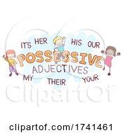 Stickman Kids Possessive Adjectives Illustration