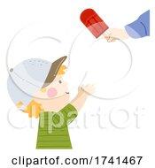 Kid Boy Get Popsicle Stick Illustration