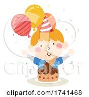 Kid Boy Ice Cream Cake Birthday Illustration