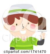 Kid Boy Muslim Hold Popsicle Illustration