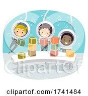 Poster, Art Print Of Stickman Kids Underwater Play Blocks Illustration