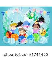 Stickman Kids Underwater Birthday Illustration
