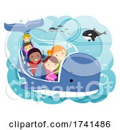Stickman Kids Underwater Theme Park Illustration