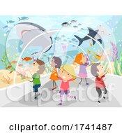 Stickman Kids Underwater Tunnel Trip Illustration