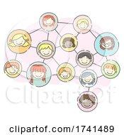 Stickman Kids Heads Brain Connect Illustration
