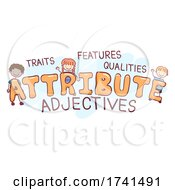 Stickman Kids Attribute Adjectives Illustration
