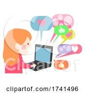 Kid Girl Internet Laptop Compliments Illustration