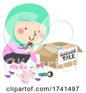 Kid Girl Muslim Garage Sale Toy Box Illustration