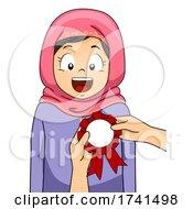 Kid Girl Muslim Receive Award Ribbon Illustration