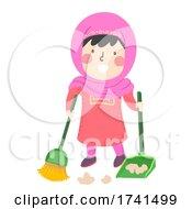 Kid Girl Muslim Sweeping Floor Illustration