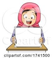 Kid Girl Muslim White Board Marker Illustration