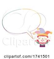 Kid Clown Costume Speech Bubble Illustration