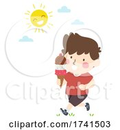 Poster, Art Print Of Kid Walking Outdoor Ice Cream Scoops Illustration