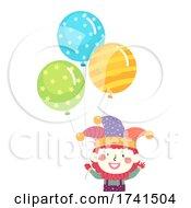 Kid Clown Costume Balloons Illustration