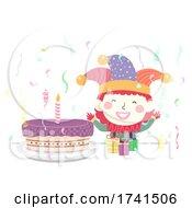 Poster, Art Print Of Kid Clown Costume Cake Gifts Confetti Illustration