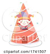 Poster, Art Print Of Kid Clown Costume Party Hat House Illustration