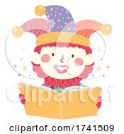 Poster, Art Print Of Kid Clown Costume Read Book Illustration