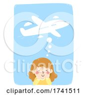 Kid Girl Think Travel Plane Illustration