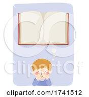 Kid Boy Think Open Book Illustration