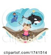 Poster, Art Print Of Stickman Kids Underwater Creatures Illustration