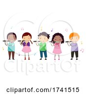 Stickman Kids Piccolo Music Class Illustration