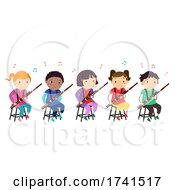 Stickman Kids Bassoon Music Class Illustration