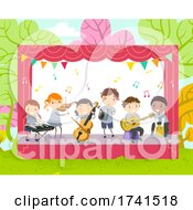 Stickman Kids Play Instruments Illustration